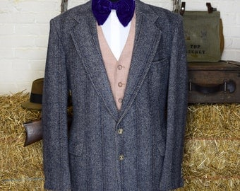 42 Long Navy Gray Herringbone Wool Tweed Blazer with Full Lining