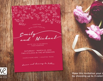 Customizable Wedding Invitation - Printable Digital File
