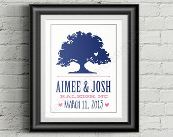 Wedding Tree Print - Custom Color Wedding Print - Frame not included!