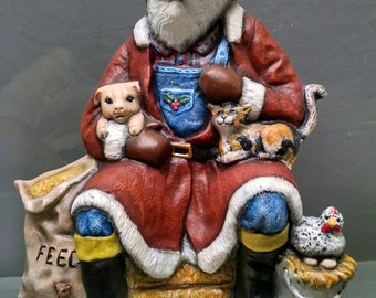 SALE!!!Farmer Santa -- Heirloom-quality handpainted ceramic Santa -- Christmas mantel decor