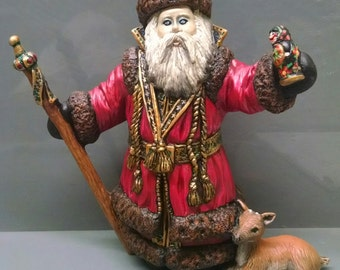 SALE!!!Russian Santa -- Heirloom-quality handpainted ceramic Santa -- Christmas mantel decor