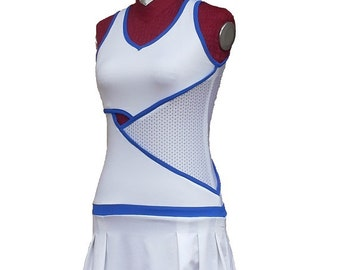 women's tennis dress with blue and white trimmed openings, perforated fabric inserts on the side and low waist belt skirt