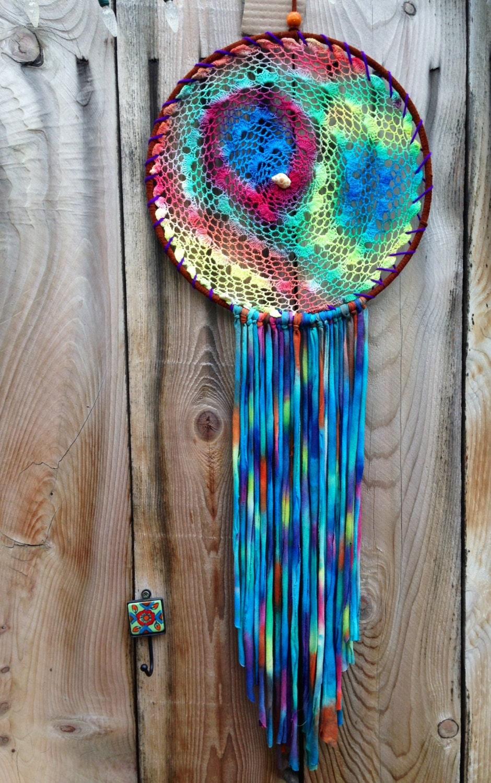 huge recycled tie dye seashell dreamcatcher. Black Bedroom Furniture Sets. Home Design Ideas