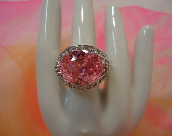 Beautiful Pink Stone and Rhinestone Sterling Silver Ring with Hearts Size 6 1/4