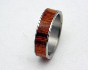 Titanium ring with Iron wood inlay
