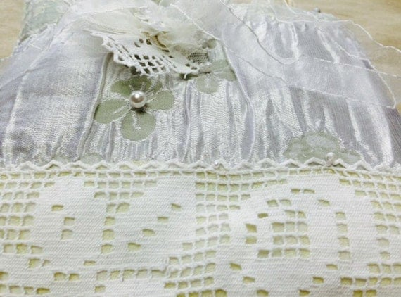 Alternative Silver Wedding Gifts : Wedding ring pillow vintage French crochet lace silver couture fabric ...