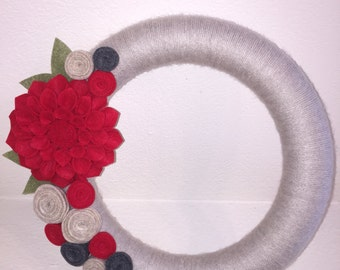Birch Red and Ivory Floral Felt and Yarn Wrapped Wreath