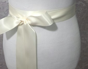 Ivory Satin Sash - Bridal belt - Flower Girl Sash -  bridal sash - bridal Satin sash -  Bridesmaid sash - Wedding Plain Satin Sash