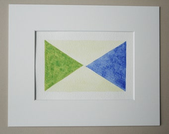 Blue and Green Triangles / Original Watercolor Painting