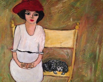 Woman and Dog on a Bench - original acrylic painting