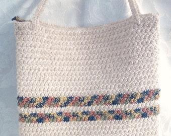 Vintage Handbag, Off White Crochet Cotton with Two Stripes, Small Mod Purse, Retro Handbag, Circa 1970s