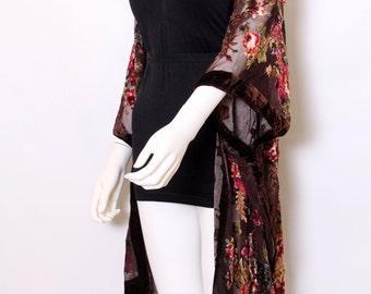 Vintage style brown Silk Devore Floral Tassel fringe jacket kimono