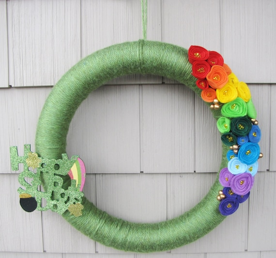 St. Patrick's Day Wreath- St. Patrick's Day Yarn Wreath- Irish Deco Mesh Wreath- Home Sweet Home Wreath