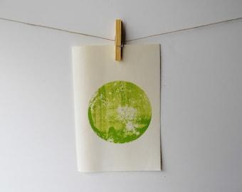 Abstract Circle screenprint | Lime green, moon variation
