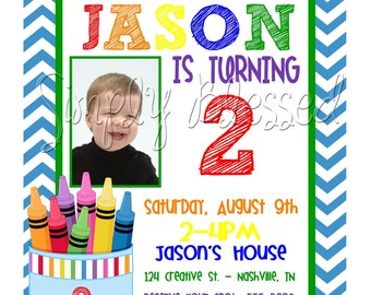 Colorful Crayon Birthday Invitation Printable - DIY By: SimplyBlessedDesign