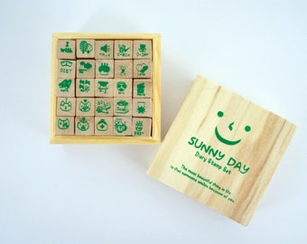 Korean stamp kit - cats - cake - dieting - plants - kawaii wooden stamps - Sunny Day