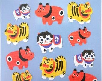 Japanese Inu Hariko Dog, Bull and Tiger chiyogami paper stickers - kawaii yuzen paper - cute traditional Japan paper mache folk art toys