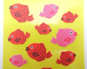 Japanese koi fish chiyogami paper stickers - beautiful traditional Japan yuzen paper - kawaii water life stickers - pink and orange fish