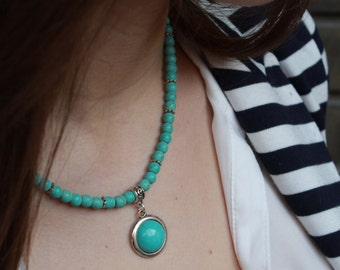 Girlfriend Gift Gift for Her Howlite Turquoise Necklace with Round Pendant Necklace for Women Jewelry for Women