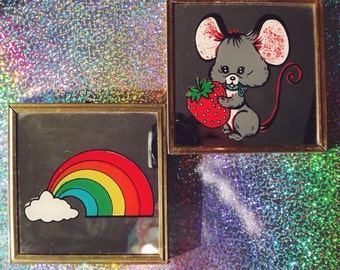 Vintage 70s Cloudy Rainbow & Mouse w/Strawberry Wall Hangings