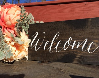 Rustic Wood Wedding Welcome Sign Hand Painted
