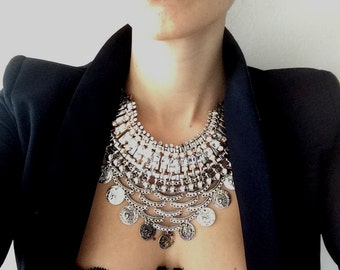 """Stacked Statement Necklace- """"Blackout"""" Wrecklace"""