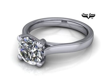 14 kt. White Gold 1.50 Carat Solitaire Round Forever Brilliant Cut Moissanite Engagement Ring #7028