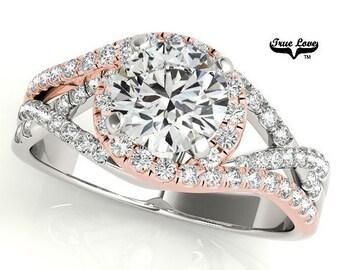 Moissanite Engagement Ring 14kt White & Rose Gold #6874