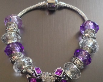 European Bracelet with Purple Beads
