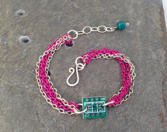 Hot Pink & Silver Stackable Multi Chain Bracelet with Tiny Reclaimed Upcycled Circuit Board Charm, Adjustable from 7 to 8 inches