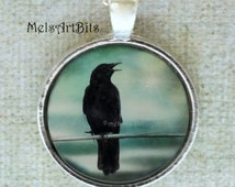 Raven Crow Surreal Magical Teal Blue Sky Black Bird  Photo / Art Pendant Necklace