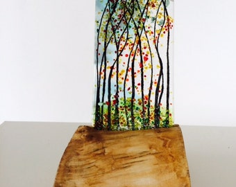 Tall fused glass trees