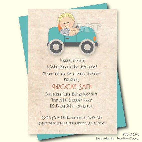 Baby Shower Invitations Wording For Boys: Vintage Car Baby Shower Invitation Retro Car Theme Boy Shower