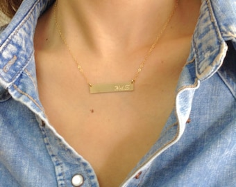 Geometric Bar Initial Necklace, Geometric Gold Necklace, Gold Dainty Jewelry, Cool Minimalistic Necklace, Gift Under 30, Simple  Necklace
