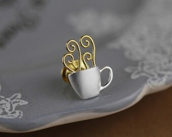 Tiny Coffee Cup Brooch Gold-plated Copper Pin Sterling Silver Brooch Adorable Women Brooch