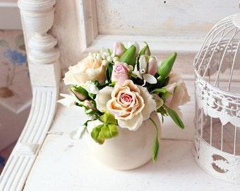 Home Decoration - Bouquet of Roses - Handmade Flower Floral Decor Ornament - Cold porcelain
