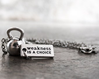 Weakness is a Choice Kettlebell Necklace, Choose Strength Cross Fitness Jewelry, Kettle Bells WOD Jewelry Strength Training Keychain Keyring