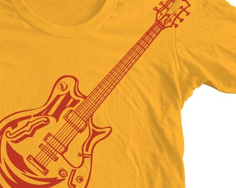 GIBSON GUITAR Shirt Rock and Roll Vintage The Rolling Stones T shirt. Original Drawing Pen and Ink. Electric Guitar Tee.