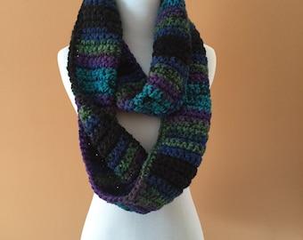 Multi-colored Infinity Crochet Scarf