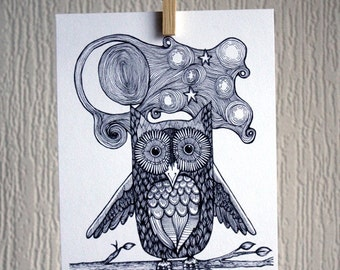 Owl - A5 Unframed Inkjet Print