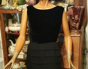 Your Basic Go anywhere 1960s  Dress  w  Raven Black Velvet Bodice  & Circular Layered Skirt
