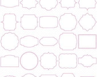 50 Pink Digital Frames, Classic Frames, Digital Clipart, Digital Download, Clipart Frames, Frames Clipart, Basic Frames, Scrapbooking frames