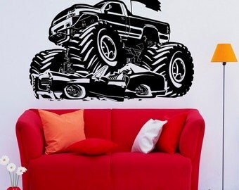 monster truck vinyl etsy. Black Bedroom Furniture Sets. Home Design Ideas