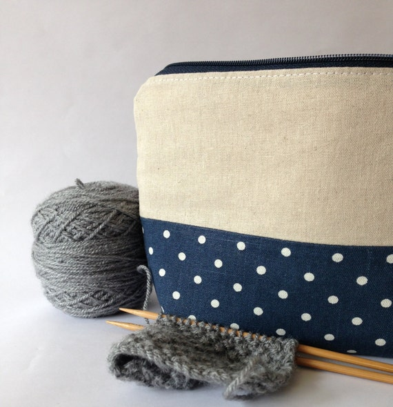 Zippered Knitting Bag : Blue spotty zippered pouch knitting project bag by