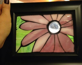 Purple flower stained glass mosaic