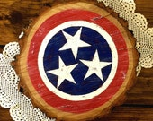 Rustic Red, White, & Blue Hand Painted Distressed Tennessee State 3 Star Flag on Raw Wood Slice