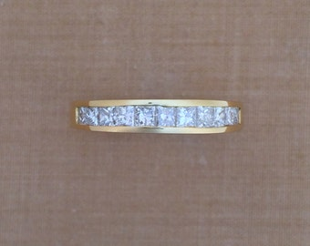 Princess Cut Diamond Wedding Band - Channel Setting - 18K Yellow Gold - Diamond Anniversary Ring - Gift for her