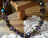 """Pisces in Purple Hope Angel Bracelet in Purple Swarovski Crystal with Bronze tone spacers, and Pisces Charm, Stretches on/off,  7.5"""" OOAK"""