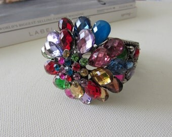 Crystal Bangle, Bangle Bracelet, Cuff Bangle, Prom Jewellery, Flower Bracelet