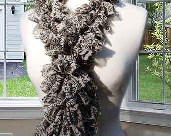 Ruffle Scarf, Newsprint, Holiday Gifts, Women's Fashionable Accessories